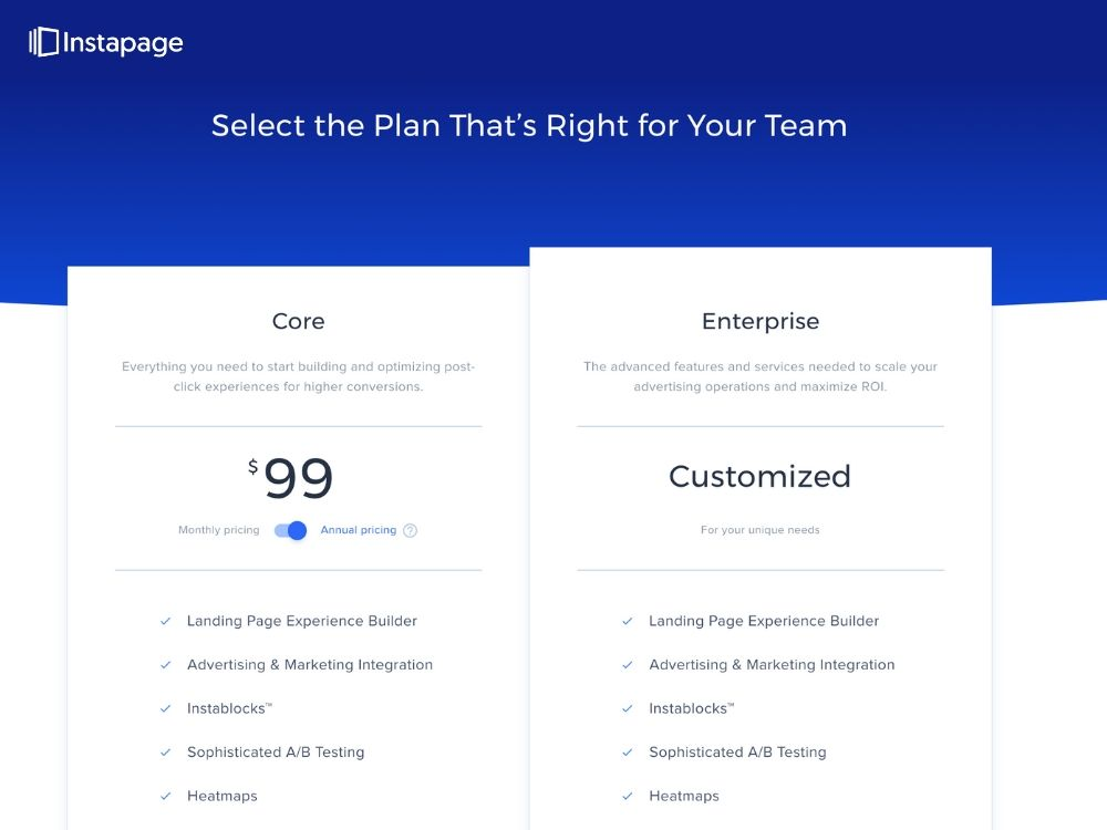 Screenshot Instapage Pricing &Plans Page
